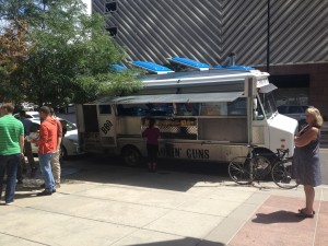 Located at the Wells Fargo Center, 17th and Sherman, Denver CO on August 6, 2013 around 11:40AM