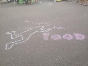 Snack Attack - 8-24-13 - Chalk Outline in Argonaut parking lot