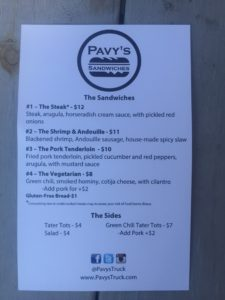 Pavy's Food Truck menu, circa June 17, 2016