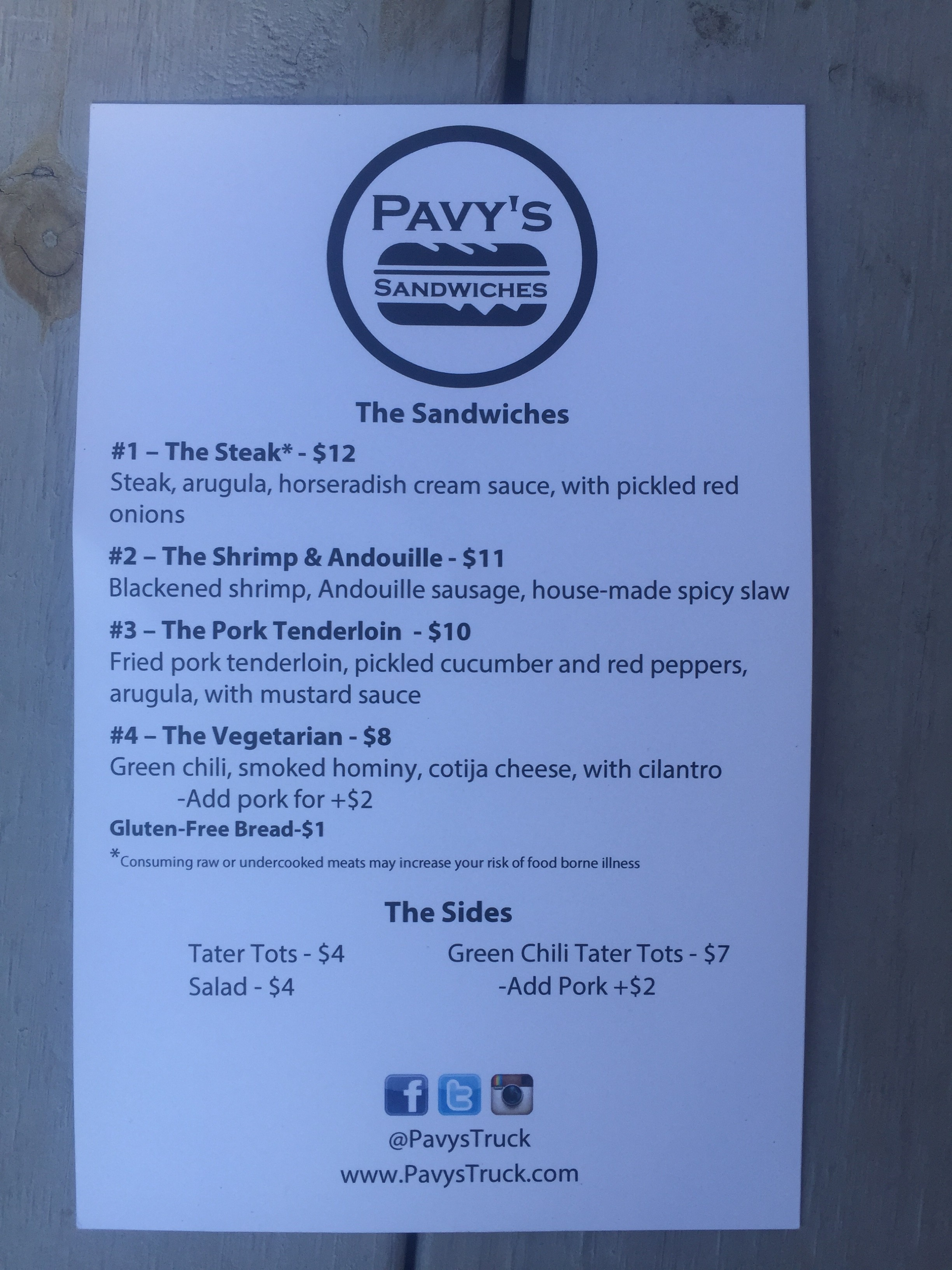 Food Truck Pavy S Sandwiches May